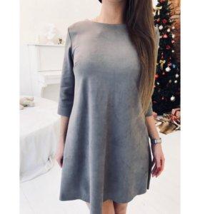 Замшевое платье с бантиком