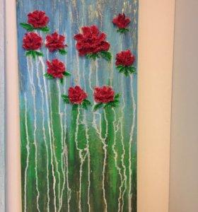 Картина «розы» с объемными цветами