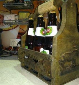 Переноска для бутылок (пива) ручной работы