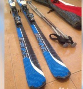Горные лыжи, крепления, палки, чехол