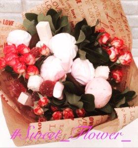 Букеты из цветов и сладостей, сладкий букет