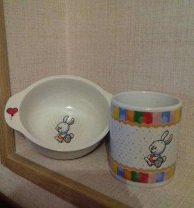 Детский набор кружка и миска