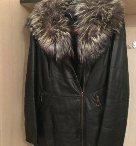 Кожаная куртка утеплённая