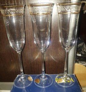 Нр3шт. Хрустальные бокалы для шамп.