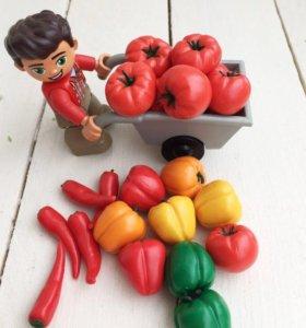 Овощи из полимерной глины для развития и игр детей
