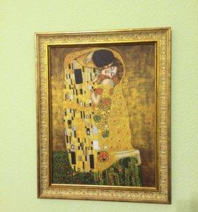 Репродукция Климпта картина «поцелуй»