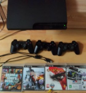 Play station 3 slim 128gb + 3 dualshock3, + игры