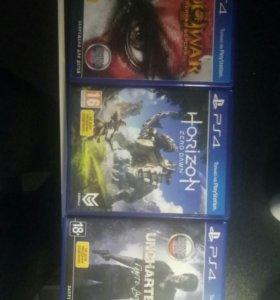 Комплект игр Uncharted 4,Harizon, GOD OF WAR