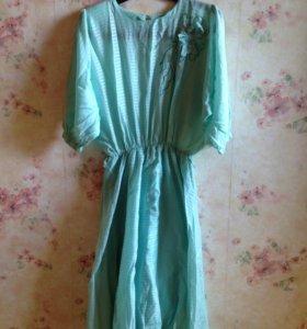 Винтажное платье салатовое