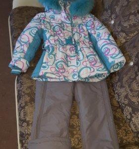 Зимний коплект для девочки куртка и полукомбинезон