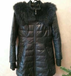 Зимняя куртка кожаная с мехом