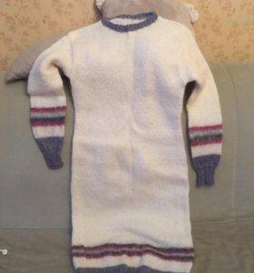 Платье вязаное шерстяное
