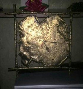 Часы панно кованые
