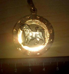 Золотой кулон ( лев зодиак)