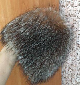 Чернобурка вязаная(шапка)