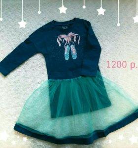 Платье с юбкой для девочки 98см