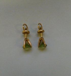 Золотые серьги пусеты 585