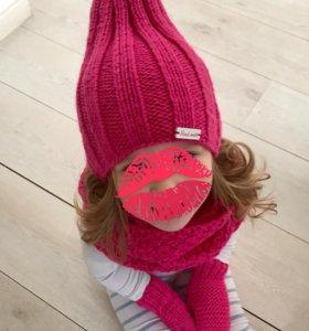 комплект шапка снуд варежки