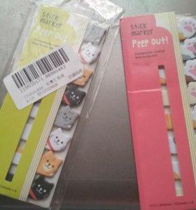 Стикеры для заметок закладки котики лапки
