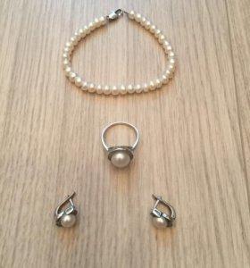 Новый серебряный набор с жемчугом