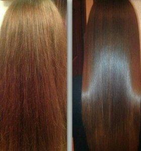 кератиновое выпрямение волос.