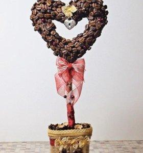 Сердечки кофейные  ручной работы