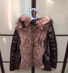 Зимняя кожаная куртка-жилетка с натуральным мехом