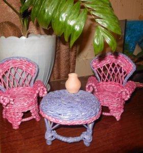 Плетеная кукольная мебель (ручная работа)