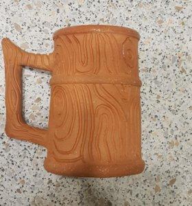 Кружка глиняная ручной работы.