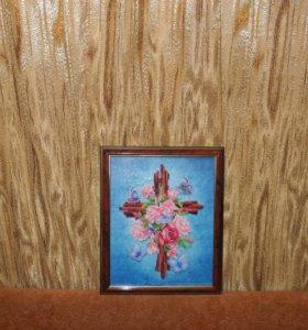 Алмазная вышивка Крестик с розами