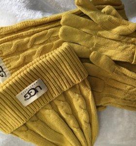 Комплект UGG шапка, шарф, перчатки