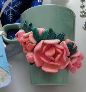 Кружка с декором из полимерной глины