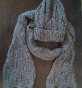 Комплект шапка и шарф зима