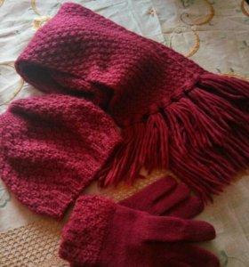 Комплект (шапка шарф перчатки)