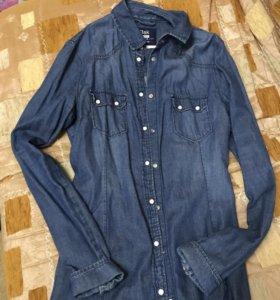 Джинсовая рубашка Bershka
