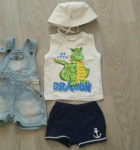 Комплект летний, шорты, майка, панама