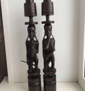 Африканские подсвечники из чёрного дерева