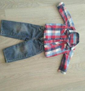 Рубашка, джинсы, размер 80