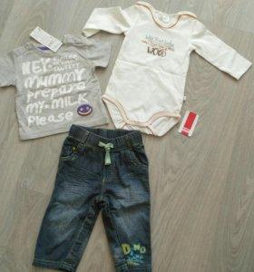 Комплект летний, боди, футболка, джинсы