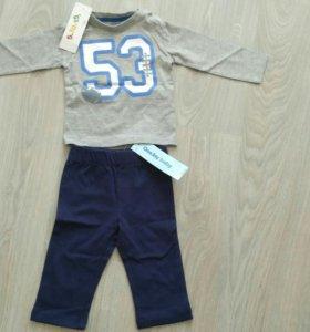 Штаны спортивные, футболка с длинным рукавом р. 74