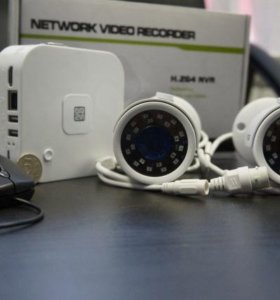 Мини комплект видеонаблюдения IP 720P улица.Новый