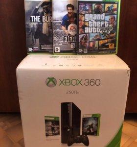 XBOX 360 E SLIM + GTA V + игры
