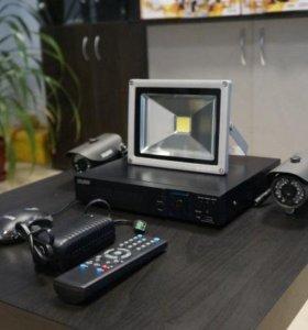 Комплект видеонаблюдения с прожектором
