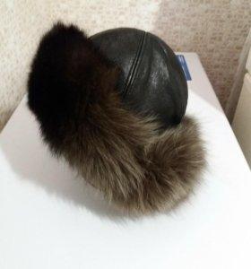 шапка нат кож с мехом