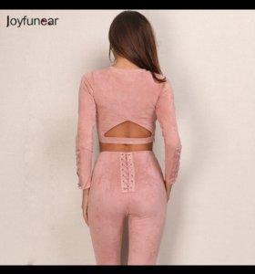 Замшевый костюм женский замшевые штаны легинсы