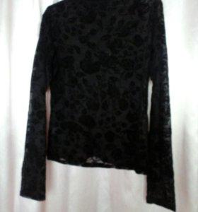 Блуза полупрозрачная с бархатом(новая)
