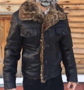 Куртка кожаная с мехом зимняя мужская (торг)