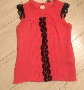 Дизайнерская блузка без рукавов 100% шёлк