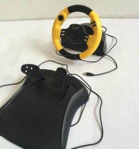 Гоночный руль с виброотдачей + педали, USB
