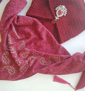 Комплект Вязаная Челма с брошью и Шарф-платок